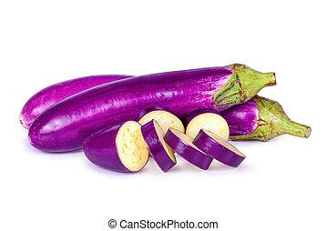 aubergine, paarse , vrijstaand, lang, (solanum, aubergine, witte , of, melongena)
