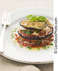 Aubergine Parmigiana Tower with Herb Oil