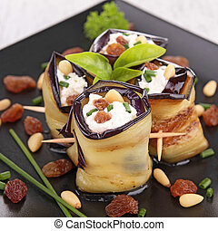 aubergine rolled up with cheese