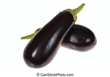 two aubergine photo on the white background