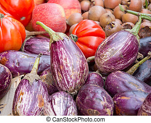 Aubergines and tomatoes
