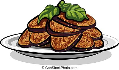 aubergines, cuit, rôti