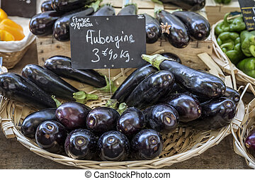 Aubergines on a market in France