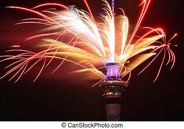 auckland, céu, fogo artifício, ano, novo, torre, exposição,...