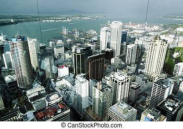 auckland, cbd, cityscape, -, nouvelle zélande, nz