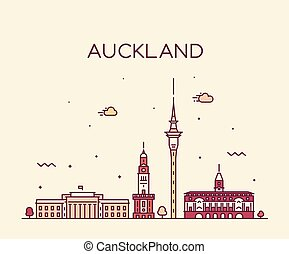 Auckland city skyline New Zealand vector linear