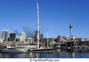 Auckland city skyline from Viaduct Marina.