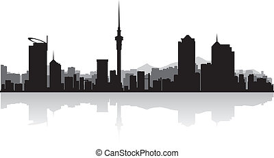 Auckland city skyline vector silhouette