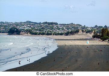 Auckland Cityscape - Orewa beach - OREWA, NZ - JAN 02: Orewa...