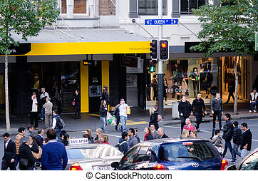 AUCKLAND, NZ - MAY 29:Traffic on Queen street on May 29 2013.It's a major commercial thoroughfare in the Auckland CBD, New Zealand's main population center.