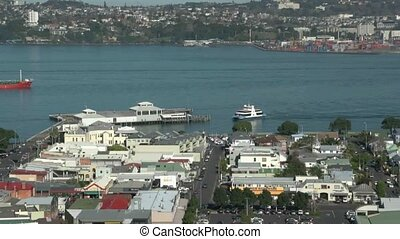 Auckland ferry at Devonport wharf.
