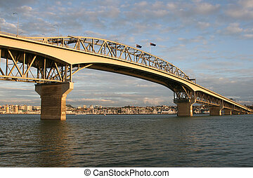 Auckland Habour Bridge at sunset new zealand
