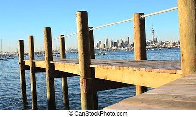 auckland, horizon, en ville