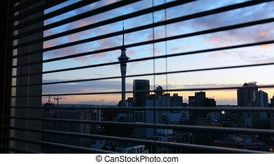 auckland, horizon, fenêtre