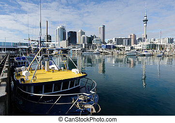 Auckland Viaduct Harbor Basin - AUCKLAND - JUNE 02:Fishing ...