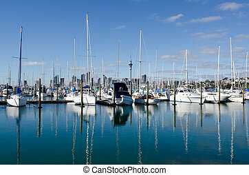 auckland, marina, westhaven, -