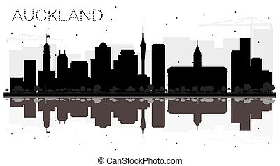 Auckland New Zealand City skyline black and white silhouette with Reflections.