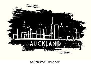 Auckland New Zealand City Skyline Silhouette. Hand Drawn Sketch.