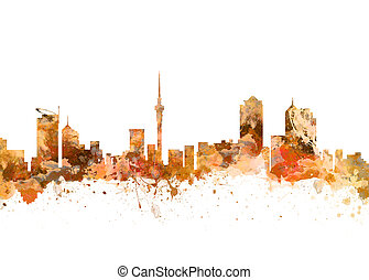 Auckland New Zealand Skyline - Watercolor art print of the ...