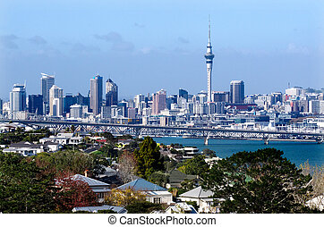 AUCKLAND, NZ - MAY 27:Auckland Skyline on May 27 2013.It's the largest and most populous urban area in the country. It has 1,397,300 residents, which is 32 percent of the country's population.