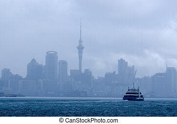 AUCKLAND, NZ - MAY 30:The MV Quick Cat on May 30 2013.Fullers Group is a ferry and tourism company in Auckland, NZ.It operates in the Hauraki Gulf and in 2007 transported 4.2 million passengers.