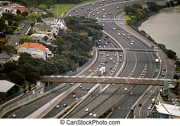 Aerial view of traffic on Auckland inner city road - ...