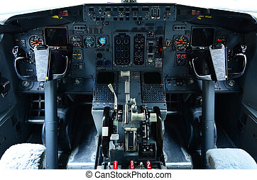 AUCKLAND - OCT 18 2015:Boeing 737 cockpit. It's the best-selling jet commercial airliner, continuously manufactured since 1967 with 8,725 aircraft delivered and 4,243 orders as of September 2015.