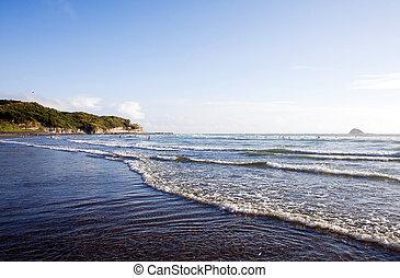 auckland, playa, zealand, nuevo, muriwai