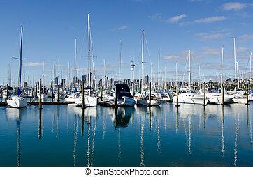 auckland, puerto deportivo, westhaven, -