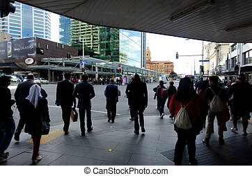 AUCKLAND, NZ - MAY 29:People on Queens street on May 29 2013.Queen Street is the major commercial thoroughfare in the Auckland CBD, Auckland, New Zealand's main population centre.