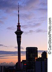 Auckland Sky tower on sunrise - AUCKLAND - AUG 10 2015:Urban...