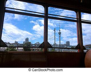 Auckland skyline as view from Dockline Wynyard Quarter Tram