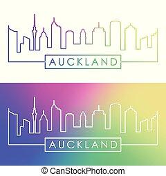 Auckland skyline. Colorful linear style.