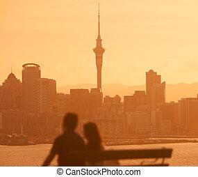 Auckland Skyline Couple View
