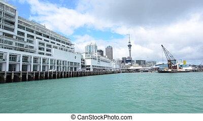 Auckland skyline from New Zealand Princes Wharf Liquor Quay