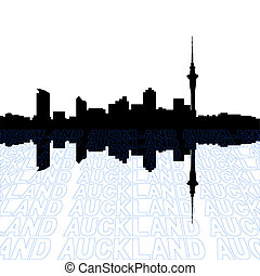 Auckland skyline with perspective text outline foreground