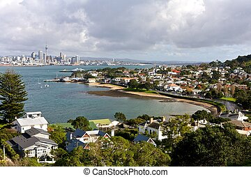 Auckland city, view with residental area in New Zealand