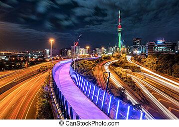 auckland, ville, nuit, horizon, nouvelle zélande