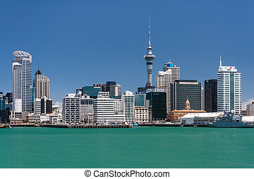 Auckland waterfront panorama in New Zealand