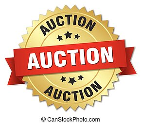 auction 3d gold badge with red ribbon