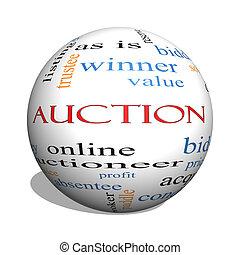 Auction 3D sphere Word Cloud Concept