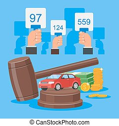 Auction and bidding concept vector illustration in flat style design. Selling car