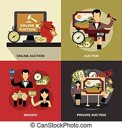 Auction Concept Icons Set - Auction concept icons set with...