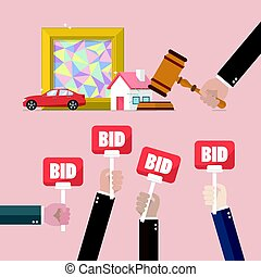Auction concept in flat style