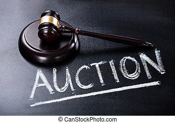 Auction Concept On Blackboard
