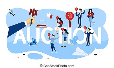 Online auction concept. Taking action in auction and bidding price. Bid and buy art online. Flat vector illustration