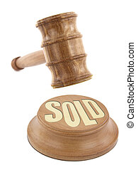 Auction concept with wooden gavel