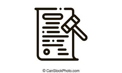 auction document Icon Animation. black auction document animated icon on white background