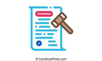 auction document Icon Animation. color auction document animated icon on white background