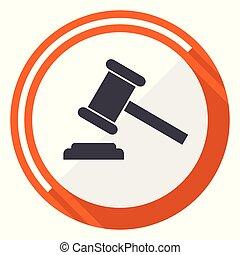 Auction flat design vector web icon. Round orange internet button isolated on white background.
